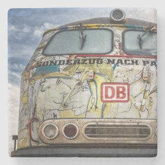 Old graffiti truck stone beverage coaster