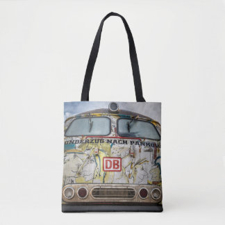 Old graffiti truck tote bag