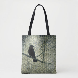 Old Green Damask And Crow Tote Bag