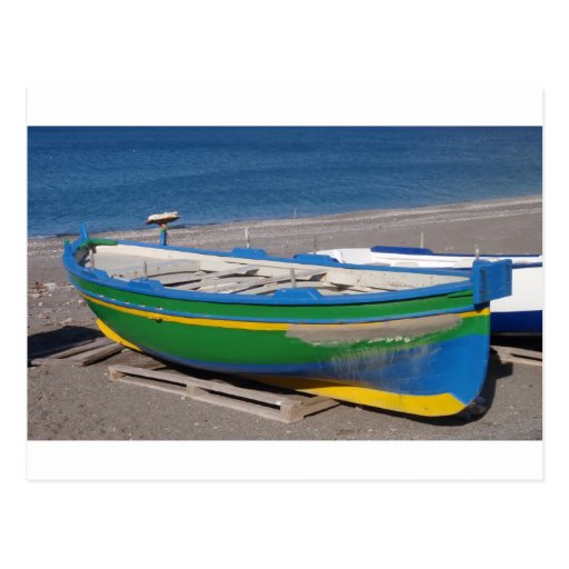 Old Fishing Boats On Beach: Old Green Fishing Boat On Beach. Postcard