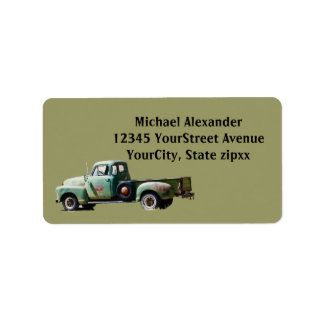 Old Green Truck Address Label