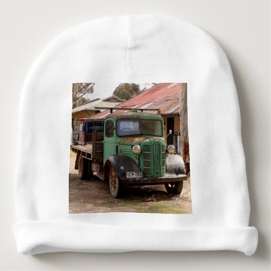 Old green truck baby beanie