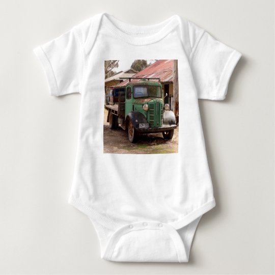 Old green truck baby bodysuit