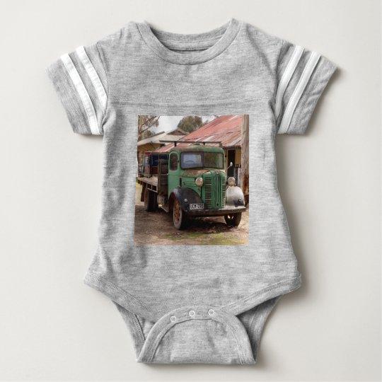 Old green truck baby bodysuit