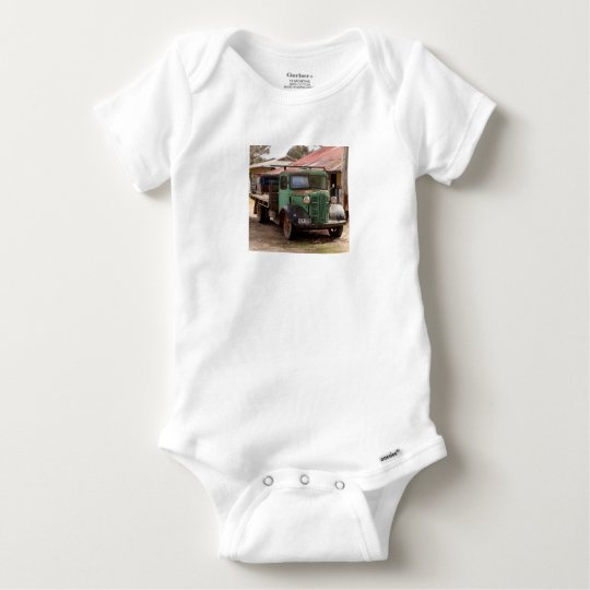 Old green truck baby onesie