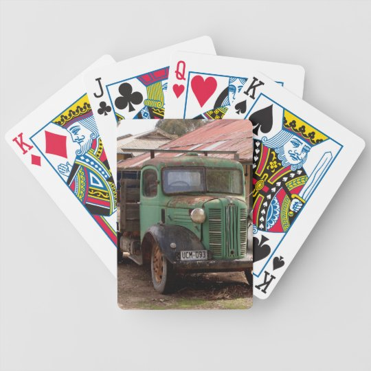 Old green truck bicycle playing cards