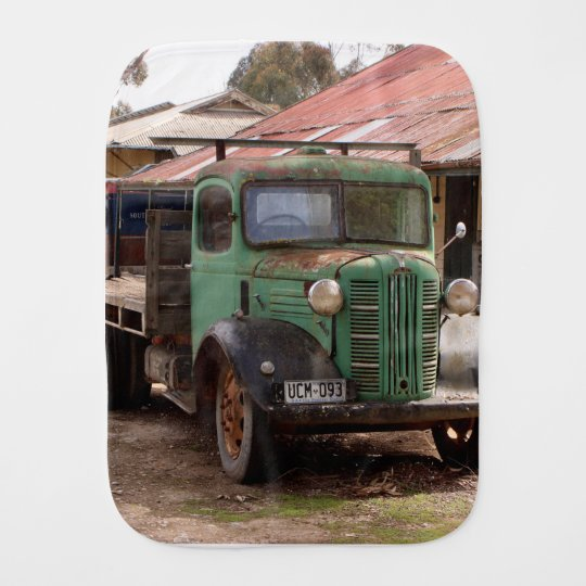Old green truck burp cloth