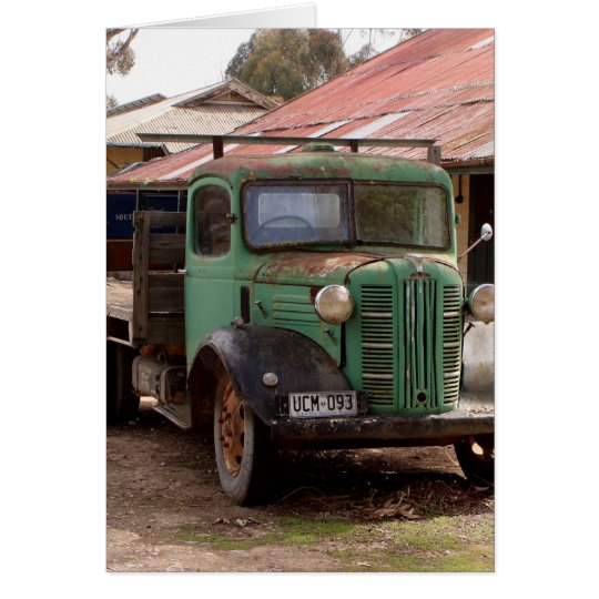 Old green truck card