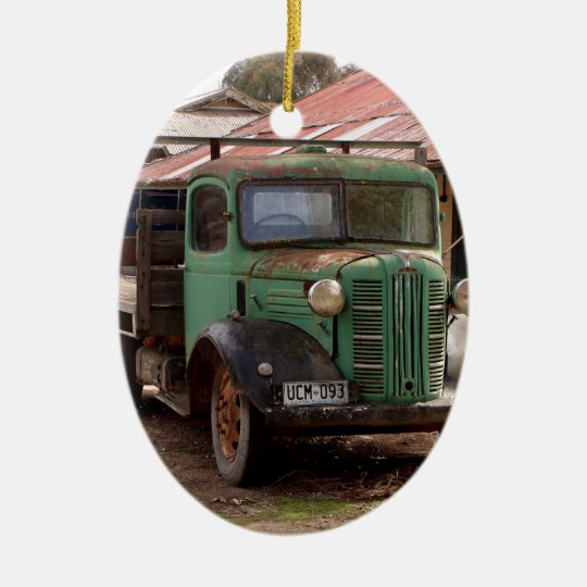 Old green truck ceramic ornament
