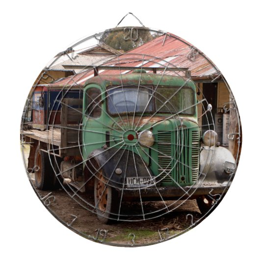 Old green truck dartboard