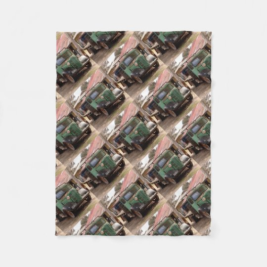 Old green truck fleece blanket