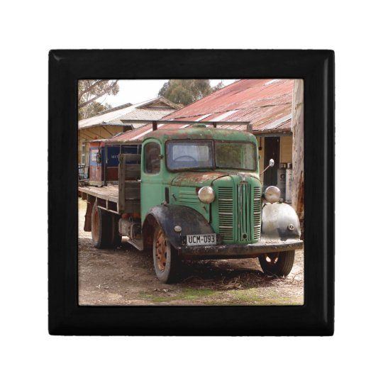 Old green truck gift box