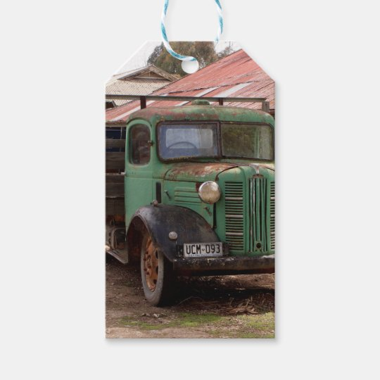 Old green truck gift tags
