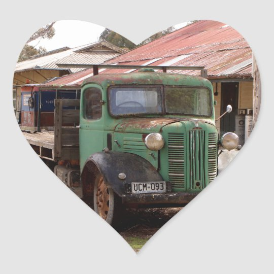 Old green truck heart sticker