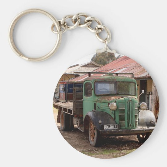 Old green truck key ring