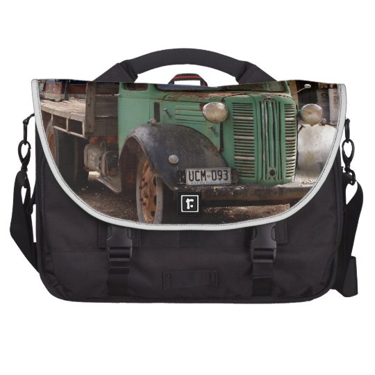 Old green truck laptop computer bag