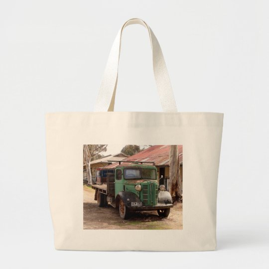 Old green truck large tote bag