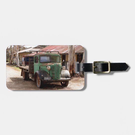 Old green truck luggage tag