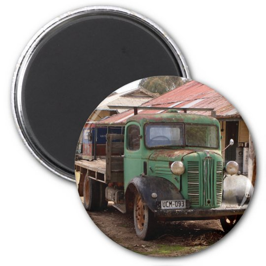 Old green truck magnet