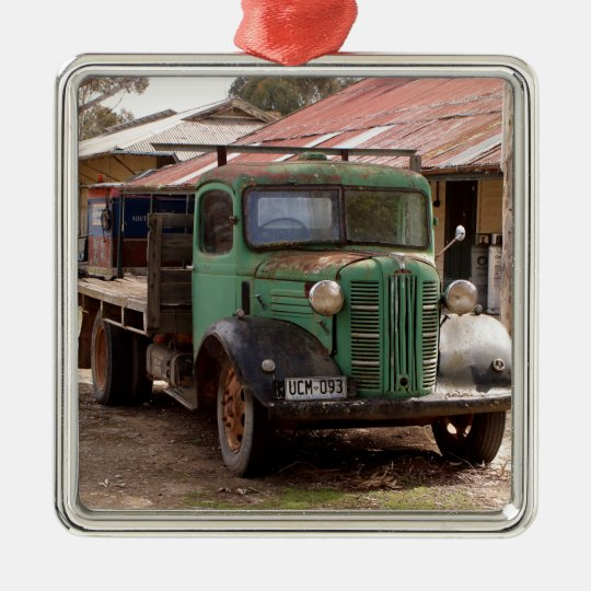 Old green truck metal ornament