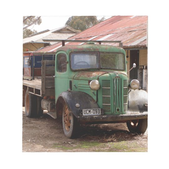 Old green truck notepad