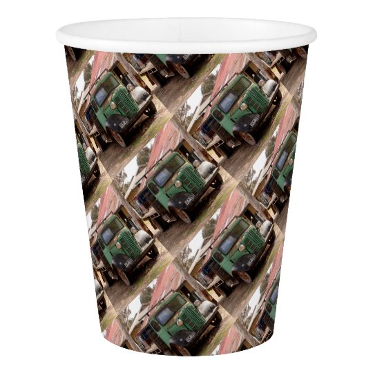 Old green truck paper cup