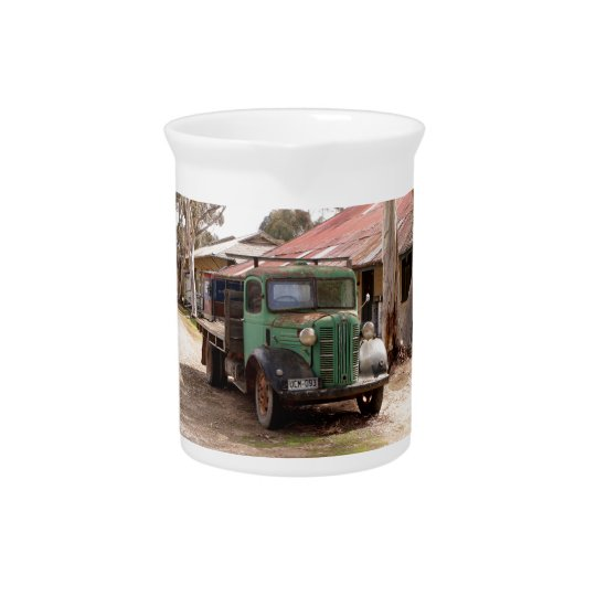 Old green truck pitcher