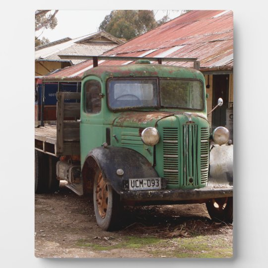 Old green truck plaque