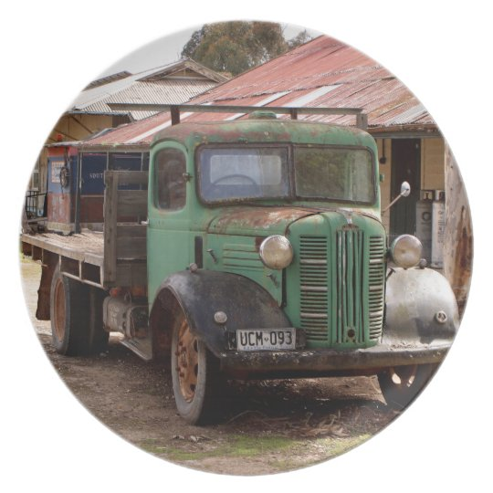 Old green truck plate