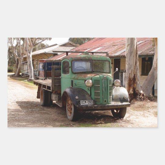 Old green truck rectangular sticker