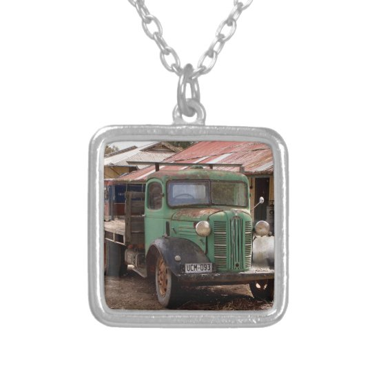 Old green truck silver plated necklace