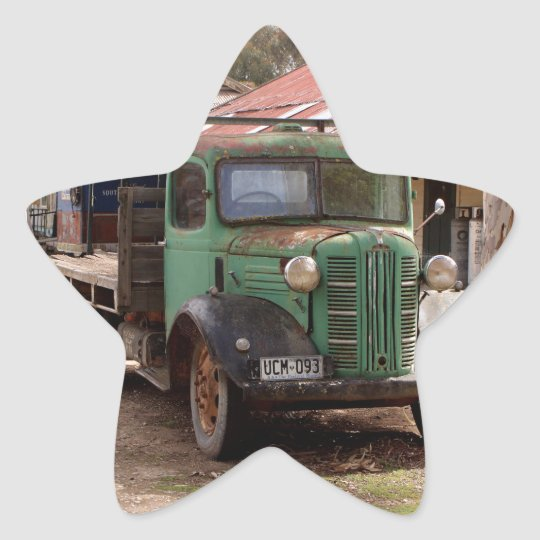 Old green truck star sticker