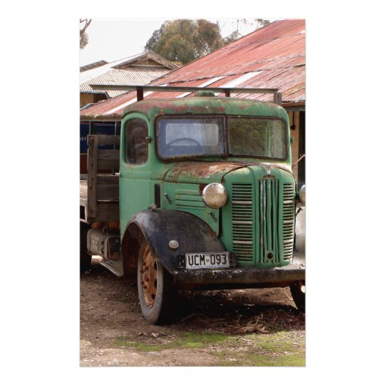 Old green truck stationery