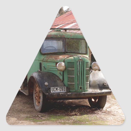 Old green truck triangle sticker