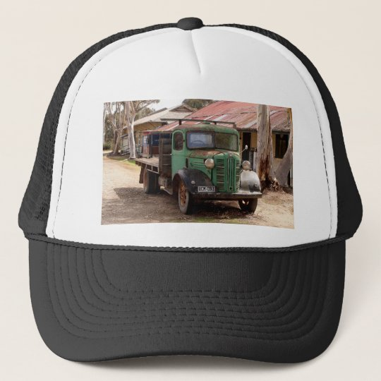 Old green truck trucker hat