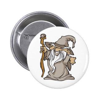 old grey wizard sorcerer 6 cm round badge