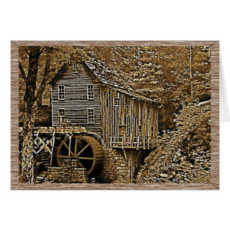 Old Grist Mill Sepia Tone Photographic Note Card