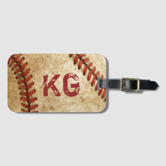 Old Grunge Baseball Personalized Monogram Initials Luggage Tag