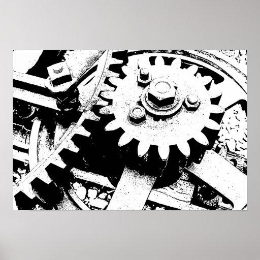 old grunge metal iron gears wheels posters