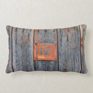 Old Grunge Rusty Metal House Number No. 87 Photo ' Lumbar Cushion