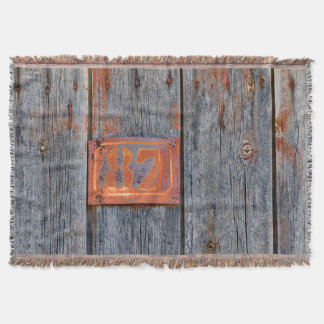 Old Grunge Rusty Metal House Number No. 87 Photo - Throw Blanket