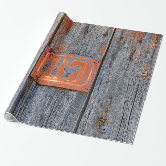 Old Grunge Rusty Metal House Number No. 87 Photo _ Wrapping Paper