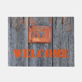 Old Grunge Rusty Metal House Number No. 87 Welcome Doormat