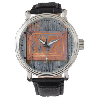 Old Grunge Rusty Metal Number 87 Photo  dial-plate Watch