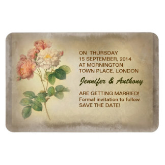 old grungy beautiful roses save the date magnets