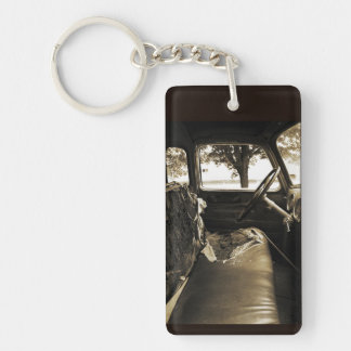 Old Grungy Truck Cab -Kaychain Double-Sided Rectangular Acrylic Key Ring