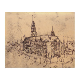 old hand drawn drawing Old Town Warsaw Wood Print
