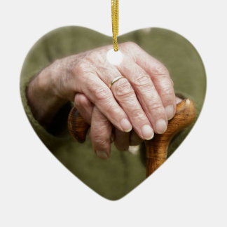 old hands OF A senior lean on walking stick Ceramic Ornament