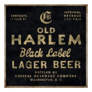 Old Harlem Lager Beer vintage advertisment poster