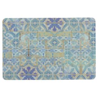 Old Havana Tile Pattern Blue and White Terra Cotta Floor Mat